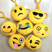 Wholesale Emoji Key Chains cm Smiley Small pendant Emotion Yellow QQ Expression Stuffed Plush doll toy for Mobile bag pendant keychains