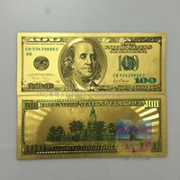 banknote design - 10pcs America Banknote Gold Foil plated Banknote USD100 Dollar Colorful double design paper money Gifts