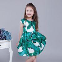 Wholesale Children Girls Dresses Summer European Style Short Sleeve Round Neck Banana Leaf Prattern Good Quality Kids Clothing