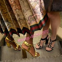 Wholesale Gold Black Red Summer Sandals White Pearls Chunky heels Leather Open toe Fashion Women Gladiators T Show Red Carpet Pumps