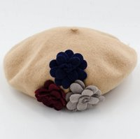 airlines military - 2016 new energy saving with flowers in autumn and winter Wool Beret Hat Lady all match airline stewardess
