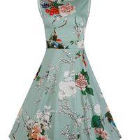Wholesale ACEVOG Brand S XL Women Dress Retro Vintage s s Rockabilly Floral Swing Summer Dresses Elegant Bow knot Tunic Vestidos