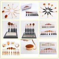 Wholesale 10 set Makeup Brushes Soft Oval Toothbrush Rose Gold Black Foundation Brushes Cream Contour Powder Blush Lip Concealer Brush Set
