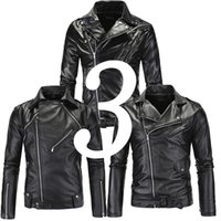 Wholesale Punk Motor Jacket Motorbike Black Leather Jackets Men Motorcycle Slim Fit Leather Biker Jacket Male Pu Coat