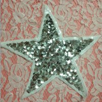 apparel arts - 20pcs Star Jeans Jacket Patches parches bordados Sequins Patch For Clothing Glitter Embroidered Patchwork Apparel Fabric Art Badge Appliques