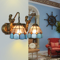 Wholesale The new tiffany lamp wall lamp lens headlight bathroom rural double wall lamp Mediterranean European sitting room the bedroom the head of a
