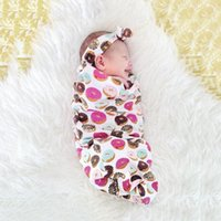 Wholesale Baby Clothes Gilrs Boys Baby Sleeping Bags Hair Band New Printed Newborn Infant Wrap Kids Clothing XY111