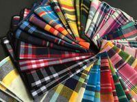 handkerchief dresses - Classic cotton material Scottish tartan squares suit pocket towel dresses Men Pocket Square Handkerchief cm