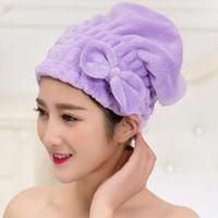 Wholesale Shower Caps Women Microfiber Magic Bowknot Shower Caps Hair Dry Drying Turban Wrap Towel Hat Cap Quick Dry Dryer Bath cm ZA2475
