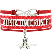 big red panda - Custom Infinity Love Alpha Omicron Pi Panda Charm Multilayer Bracelet Big Red Cardinal Suede Leather Women s Fashion