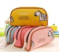 Wholesale Korea Zoo Animal PU Cartoon Pencil Bag Pen Eraser Ruler Stationery Bags For Students Kids Classmate Girl Boy
