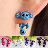 Wholesale Hot Sale New Fashion Women s Girl s Cat Puncture Ear Stud Piercing Earrings Crystal Alloy Cute Colors