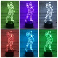 Wholesale 35zp The Colorful Standing Iron Man D Illusion Lamp LED Table Lamps Touch Switch Acrylic Visual Nightlight Hot Sale