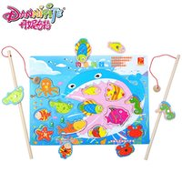 Cheap Wholesale-DANNIQITE Children Fishing Game Wooden Ocean Jigsaw Puzzle Board Magnetic Rod Toy Outdoor Fun Toy Gift For Kid