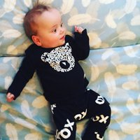 Wholesale 2017 Autumn New baby boys girls Romper baby clothes cotton Bear Long sleeve T Shirt pants newborn baby clothing