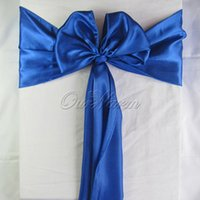 Wholesale 1 Piece Royal Dark Blue quot x108 quot Satin Chair Cover Sash for Bridal Wedding Event Party Decoration Products Supply
