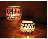 Wholesale Freeshipping new Mosiac candleholders glass colorful for home decoration