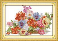 La decoración magnífica de la cesta de la flor de la decoración diy de la pintura contó la impresión en la lona Juegos de la costura del bordado de la puntada de la cruz de la lona DMC 11CT 14CT