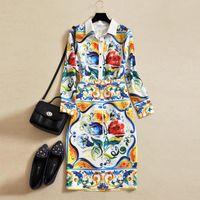 Wholesale HIGH QUALITY New Fashion Runway Suit Set Women s Strap Top Retro Print Crystal Diamond Beading Skirt Set