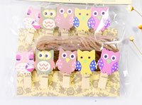 Wholesale 10 PICS Kawaii Owl Wooden Clip Photo Paper Craft DIY Clips with Hemp Rope