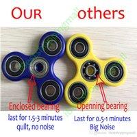 venda por atacado acrylic box-De Boa Qualidade Fidget Spinner Mão Spinner acrílico plástico triangular Fingertips Toy mão Spinners Gyro Stress Reliever brinquedos com caixa