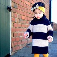 Wholesale Childrens Cardigan Sweaters Wholesale - Girls Baby Childrens Sweater Dress 2016 New Autumn Winter Fashion Long Sleeve Coat Stripe Outerwear