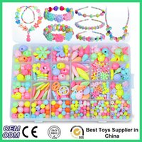 bead necklace kits - Children DIY Handmade String Beads Toy Set Puzzle Toys Jewelry Bracelet Necklace Making Kit Educational Block Toys For Kids