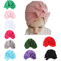 Wholesale Baby children winter fall cap fashion knotted rabbit ear soft cotton hats boy girl beanies Indian muslim bohemia caps colorful drop dropping