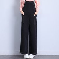 Washed black wide jeans - New Arrival Lulu Baggy Straight Rompers Jeans for Woman Jumpsuits Pants Wide Leg Leisure Design with Sashes Rings
