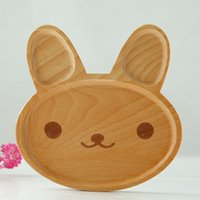 Wholesale 2017 New Wood Dishes for Babies Cute Rabbit Handmade Tableware for Children Natural Beech
