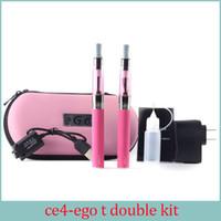 al por mayor e cigarette wicks-Ego kit E-cigarette EGO-CE4 atomizador con mecha larga EGO kit doble 2 batería 2 atomizador e cigarrillos electrónicos con caja de regalo de ego