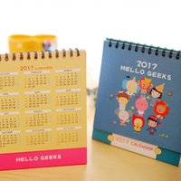 Wholesale 2017 Brand New Cute Cartoon Animal Desk Desktop Calendar Flip Stand Table Office Planner DTB0003