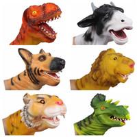 achat en gros de douce vache jouet-Gros 1pc dinosaure tigre lion cow dog main marionnette gants soft vinyle PVC animal tête figure enfants jouet modèle cadeau