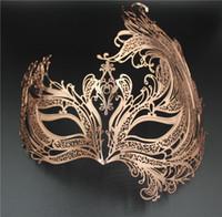 Wholesale Women Popular Rose Gold Swan Light Metal Laser cut Venetian Masquerade Mask Sparking Rhinestones For BALL Prom Party Costume