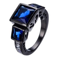 Solitaire Ring South American Men's Unique Design Fashion Women Blue Ring Black Gold Filled Jewelry Wedding Rings For Party Birthday Gifts