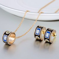 Wholesale Dubai k Gold Plated Luxury Stainless Steel Indian Enamel Jewelry Sets Choker Necklace And Earring Set For Women Pink Jewellery