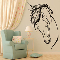 Wholesale 1 DIY Black Horse Head Vinyl Wall Decal Animal Removable Wall Sticker Home Decor Art Mural