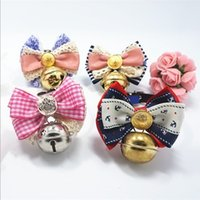 bell new shoes - Hug Me New Pet Supplies Bell Bow Collar Fashion Plaid Lace Print Cat Dog Necklace Pet Ornaments EC