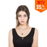 South American american power products - Fashion Three Layers Chain Necklace European Exaggeration Small Maple Leaves Combine Gold Product Pendant Foreign Trade
