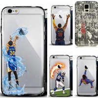 Plastic basketball phone - Curry Kobe James phone cases for iphone7 iphone s plus note7 s7 hard PC painting cover basketball football man defender case GSZ103