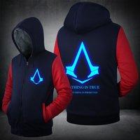 assassins creed patterns - Winter Fashion Luminous pattern Assassin Creed Hoodie Zipper Sweatshirt Ticken assassins creed Men coat jacket Plus size clothes