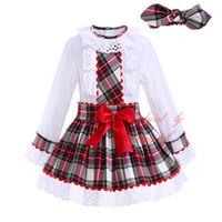 Precio de Faldas para las muchachas de los niños-Pettigirl Grid Girl Dresses conjuntos de encaje blusa de cuello con una línea de faldas de arco Bontique niños ropa de otoño con bandas G-DMCS908-959