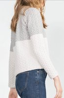 ash knit - White ash fight long sleeve zip round neck sweater
