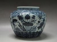 big ceramic pots - China Blue and white porcelain big pot jar painted Dutch flower fish Xuande mark