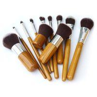 Wholesale 11Pcs Professional Bamboo Handle Makeup Brushs Cosmetic Brushes Tools Kit Foundation Brush Set Pincel Maquiagem