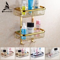 baskets for shelves - Two Layer Bathroom Rack Chrome Brass Towel Washing Shower Basket Bar Shelf bathroom shelves for bath HJ