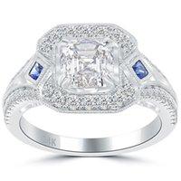 asscher cut diamonds - 2 G VS2 Asscher Cut Natural Diamond Engagement Ring k Vintage Style