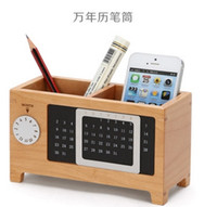 Wholesale Free shipment Wooden and creative calenda pens and accessories storage boxes and bins gift for friends