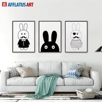 Wholesale 3 Pieces Nordic Modern Minimalist Rabbit Wall Art Prints Poster Kids Room Home Decor Wall Picture Canvas Painting