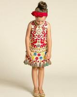 Knee-Length beach news - 2017 ins news european style children summer dress baby girl fashion flower vest princess party dress